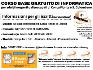 Il Mosaico Sociale - Corso informatica base - Anno 2015 - Volantino